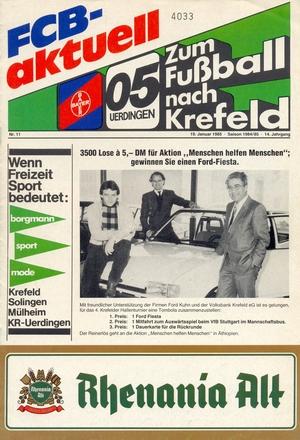 19 января 1985г.  4.Krefelder Hallenfussball-turnier