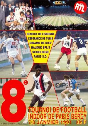"""7-8 января 1991г.  Международный турнир по мини-футболу """"8 tornoi de football indoor de Paris-Bercy""""."""