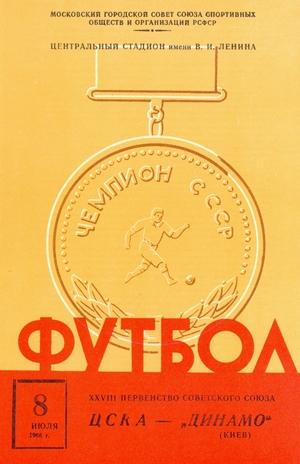 "8 июля 1966г.  ЦСКА (Москва) vs. ""Динамо"" (Киев)."