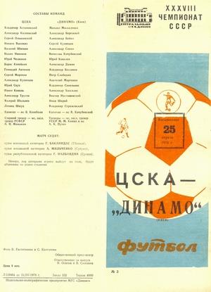 25 апреля 1976г.  ЦСКА (Москва) vs. Динамо (Киев)