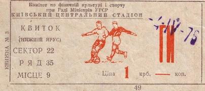 Билет: 4 апреля 1976г. Динамо (Киев) vs. Динамо (Москва)