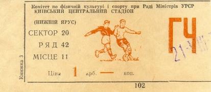 Билет: 21 августа 1977г. Динамо (Киев) vs. Черноморец (Одесса)