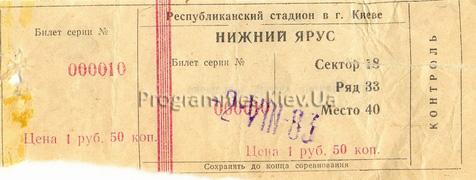 Билет: 2 августа 1983г.  Динамо (Киев) vs. Жальгирис (Вильнюс)