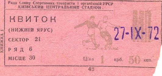Dynamo Kiev vs. SpG Swarovski Wacker Innsbruck 27/09/1972