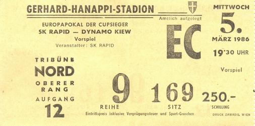 SK Rapid Wien vs. Dynamo Kiev 5/03/1986