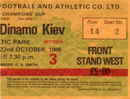 Ticket: Celtic vs. Dynamo Kiev 22/10/1986