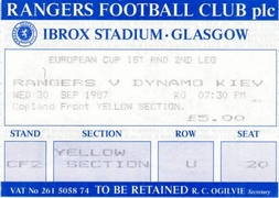 Ticket: Rangers vs. Dynamo Kiev 30/09/1987