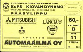 Ticket: KuPS (Kuopion Palloseura) Finland vs. Dynamo Kiev 19/09/1990