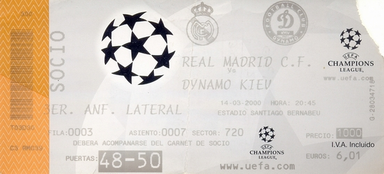 Ticket: Real Madrid vs. Dynamo Kiev 14/03/2000.