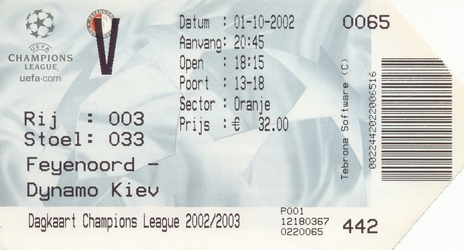 Ticket: Feyenoord vs. Dynamo Kiev  1/10/2002