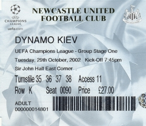 Ticket: Newcastle United vs. Dynamo Kiev 29/10/2002