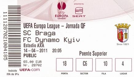 Ticket: SC Braga vs. Dynamo Kiev 14/04/2011