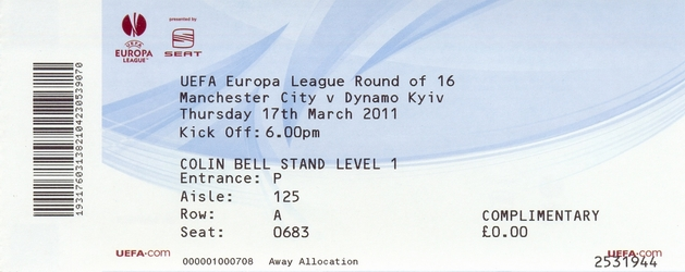 Ticket: Manchester City FC vs. Dynamo Kiev 17/03/2011